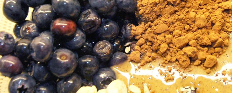 Heidelbeeren Haselnusscreme Kakao Power-Pfannkuchen